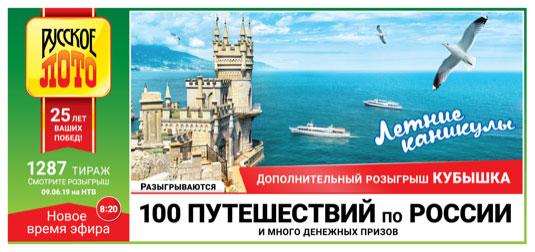 Проверить билет Русское лото тираж 1287