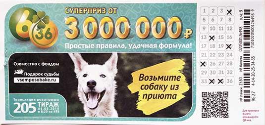 Проверить билет 205 тиража лотереи 6 из 36