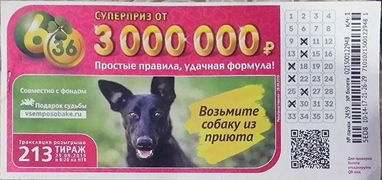 213 тираж лотереи 6 из 36