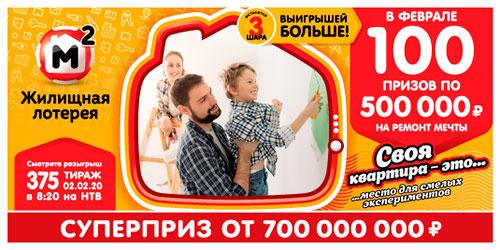 Результаты 375 тиража Жилищной лотереи