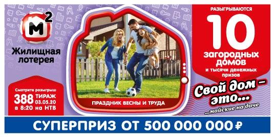 Результаты 388 тиража Жилищной лотереи